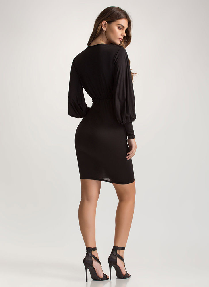 Go With The Flowy Sleeve Midi Dress BLACK