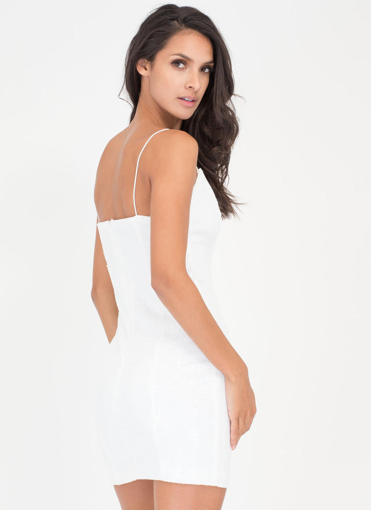 Party Over Here Matte Sequin Minidress WHITE (Final Sale)