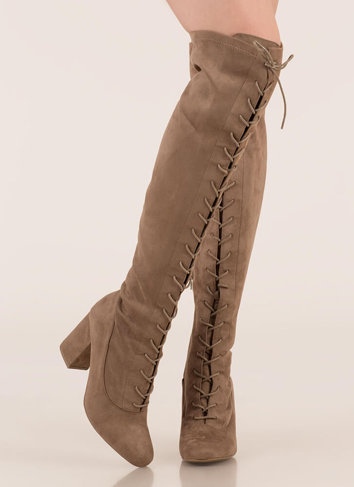 Fierce Chunky Thigh-High Lace-Up Boots TAUPE