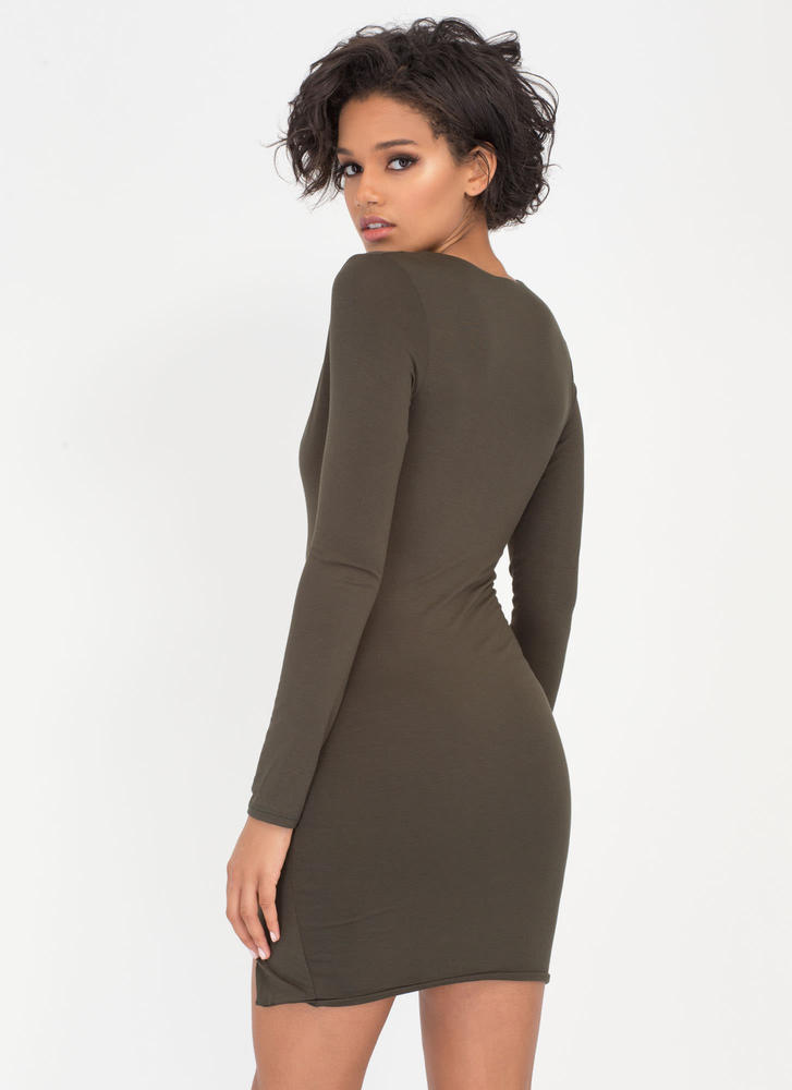 V Yourself Plunging Slit Minidress OLIVE