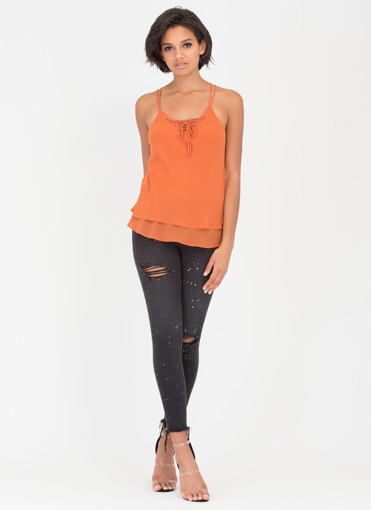 Double Or Nothing Lace-Up Cami Tank CAMEL