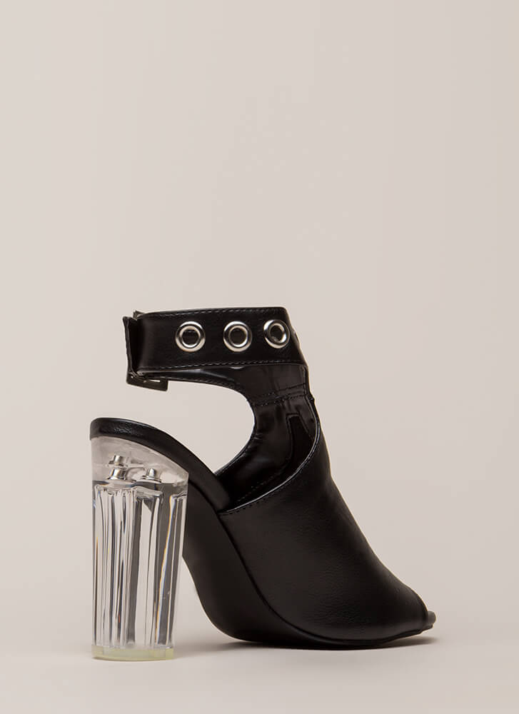 Hole New World Chunky Lucite Heels BLACK