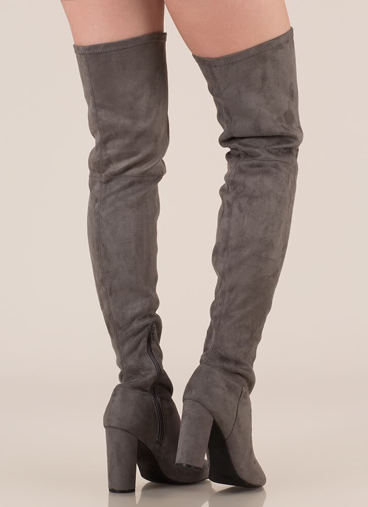 Sleek Preview Chunky Thigh-High Boots DKGREY