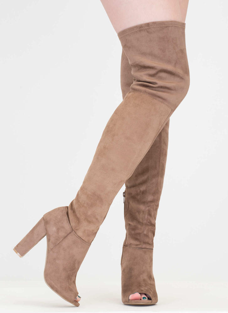 Sleek Preview Chunky Thigh-High Boots TAUPE