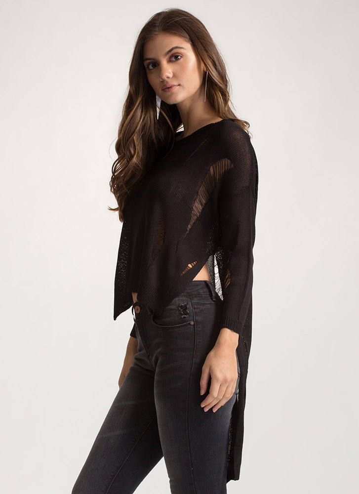 Destroy You Distressed High-Low Sweater BLACK