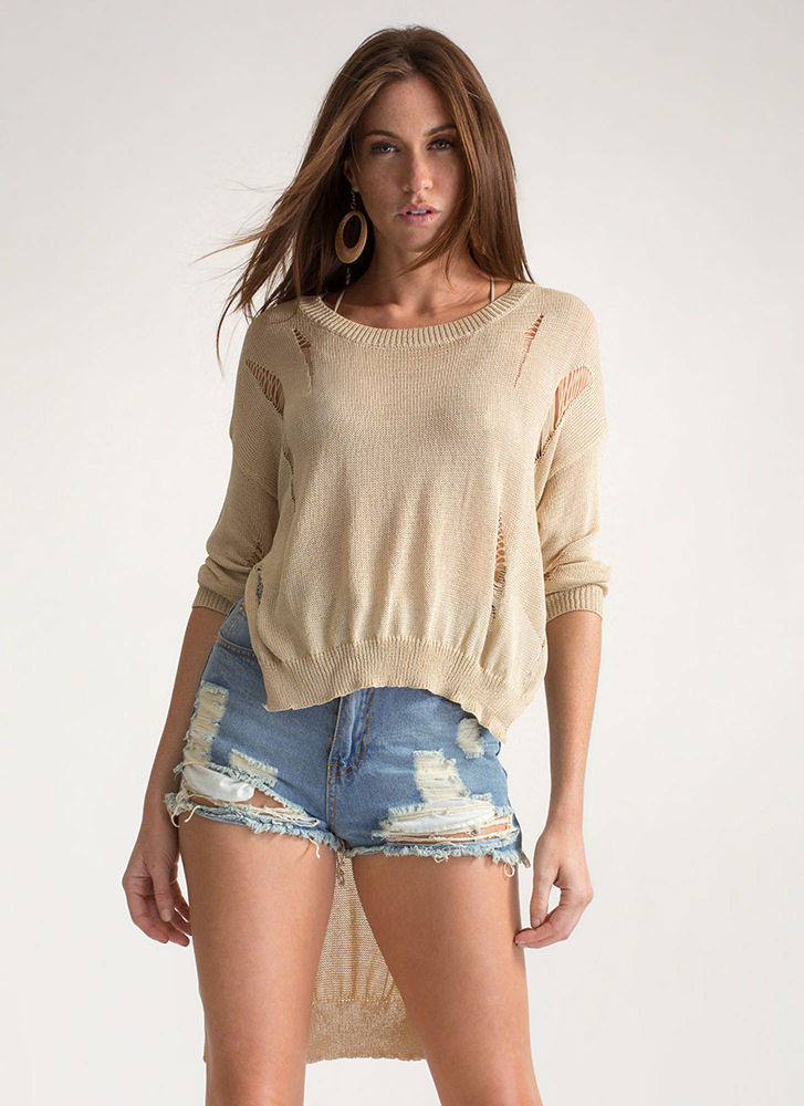 Destroy You Distressed High-Low Sweater TAN