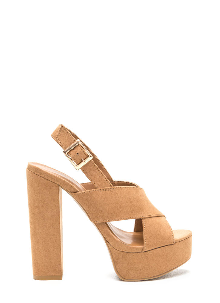X-Rated Chunky Faux Suede Platform Heels TAN