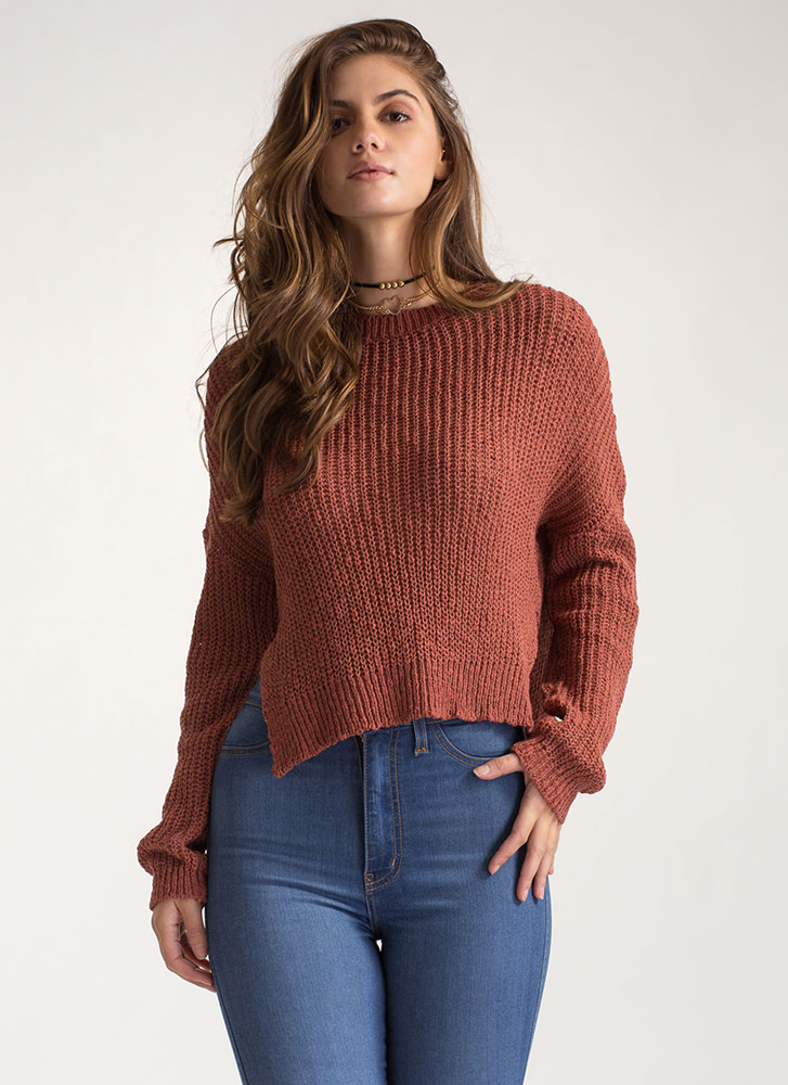 Warm Front High-Low Knit Sweater RUST