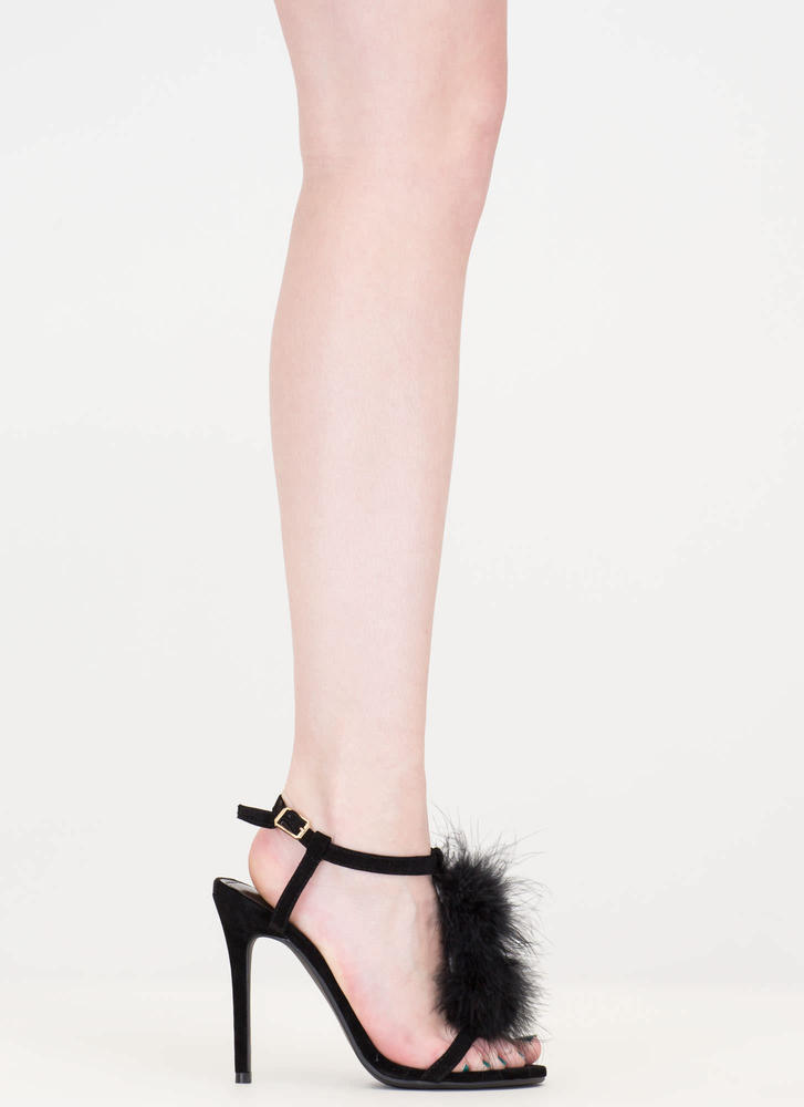 Feathered Friend T-Strap Heels BLACK