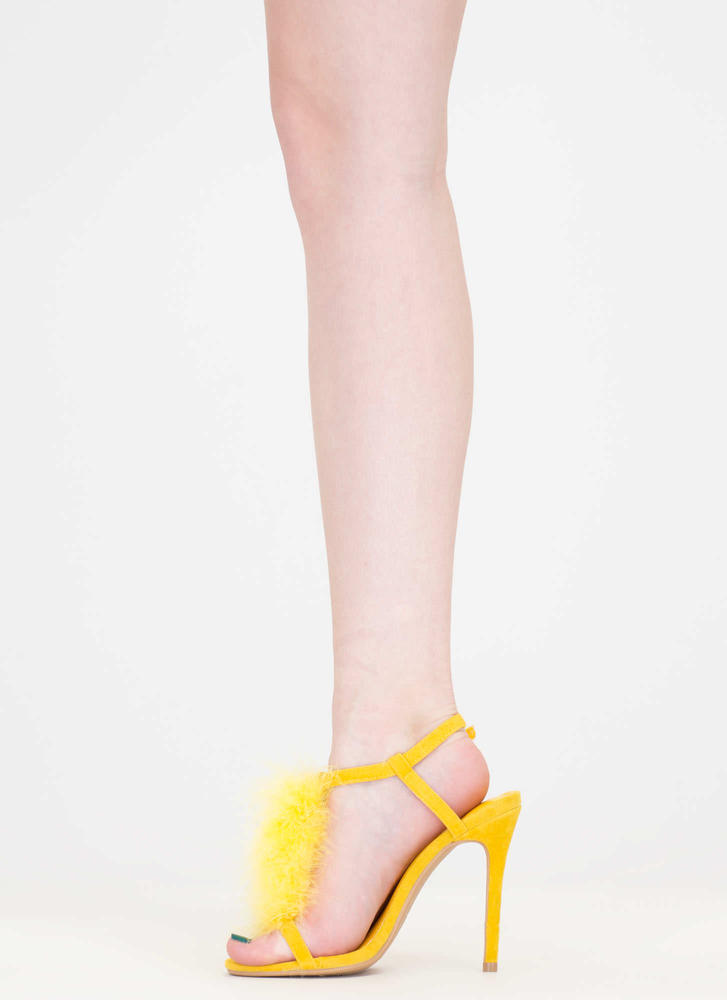 Feathered Friend T-Strap Heels YELLOW