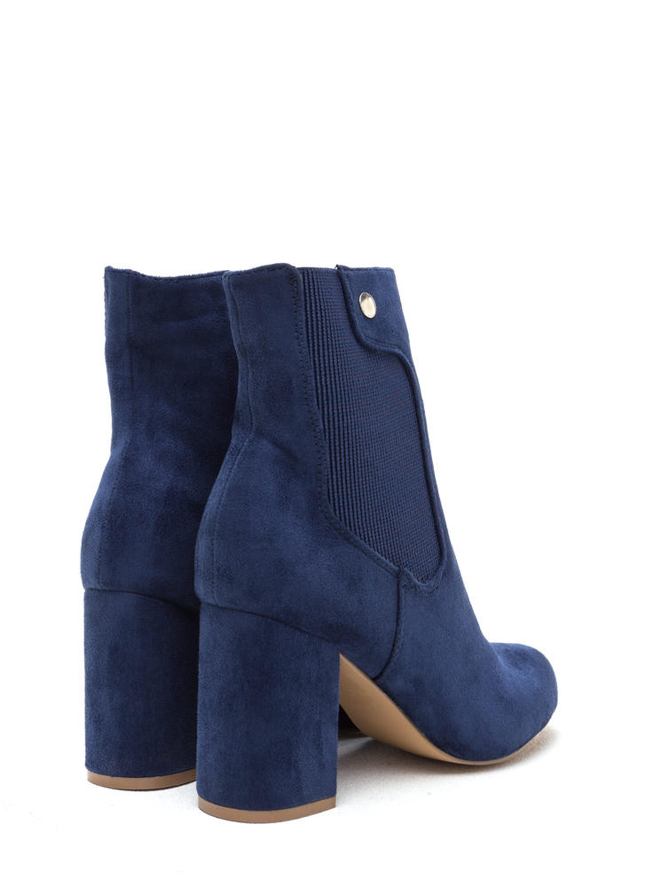 Chic All Day Chunky Faux Suede Booties INDIGO
