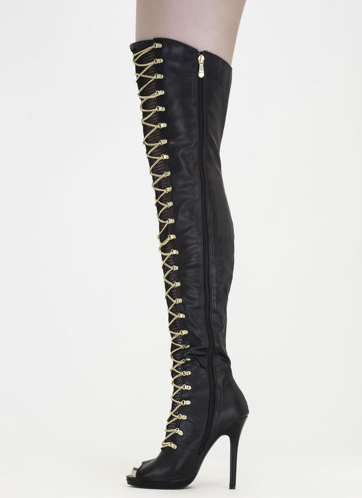 Glam Babe Chain 'N Net Thigh-High Boots BLACK (Final Sale)
