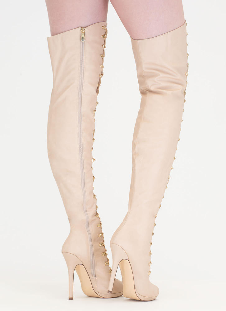 Glam Babe Chain 'N Net Thigh-High Boots NUDE (Final Sale)