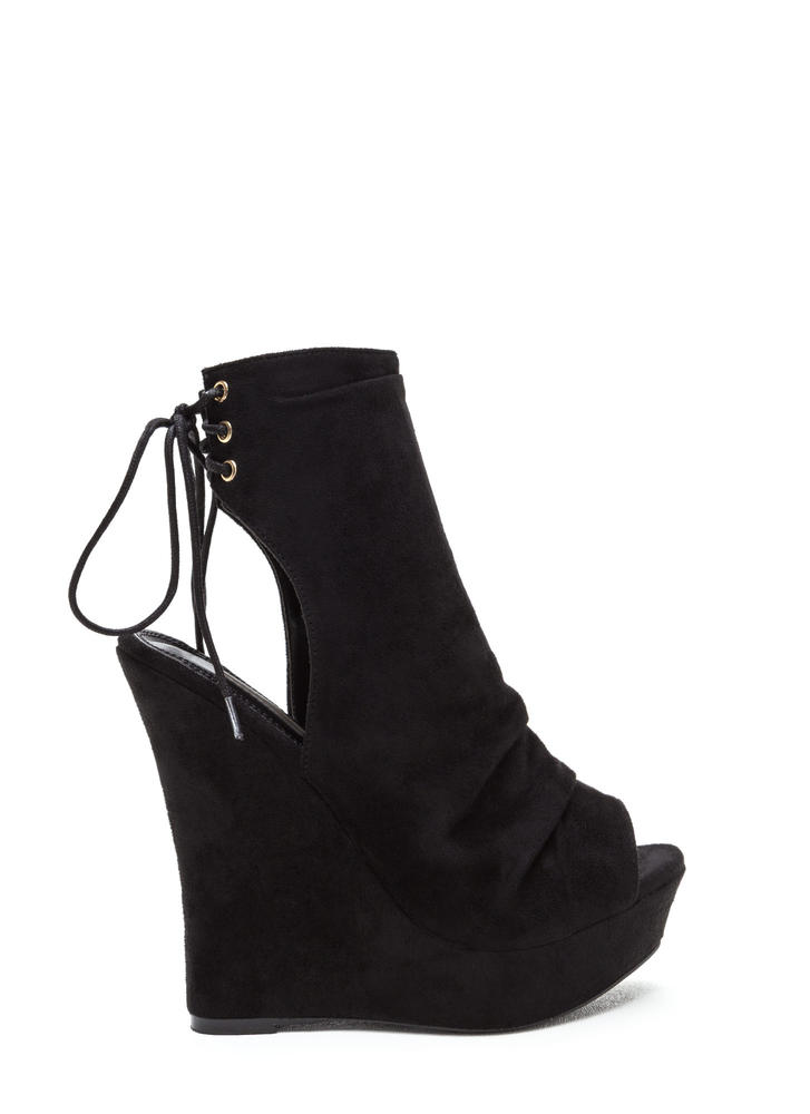 Sweet 'N Slouchy Lace-Back Wedges BLACK