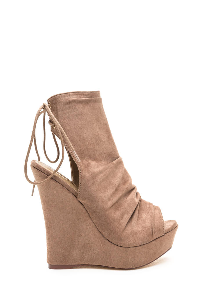Sweet 'N Slouchy Lace-Back Wedges TAUPE