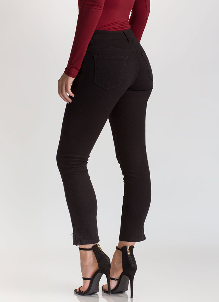 Zip To It Cropped Skinny Jeans BLACK