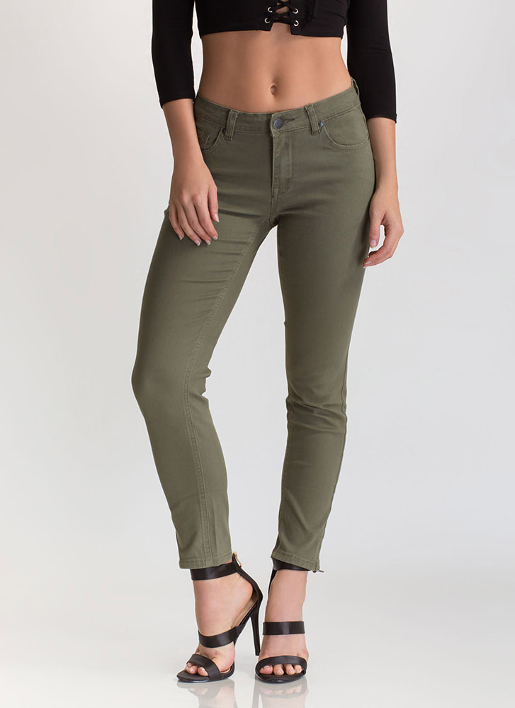 Zip To It Cropped Skinny Jeans OLIVE