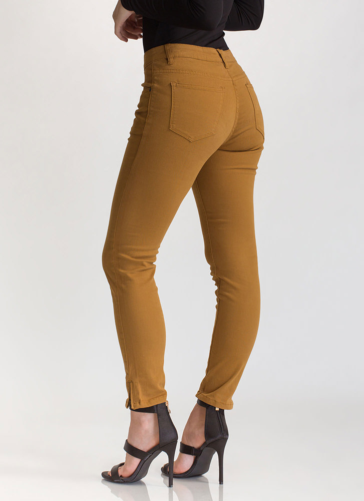 Zip To It Cropped Skinny Jeans WHEAT