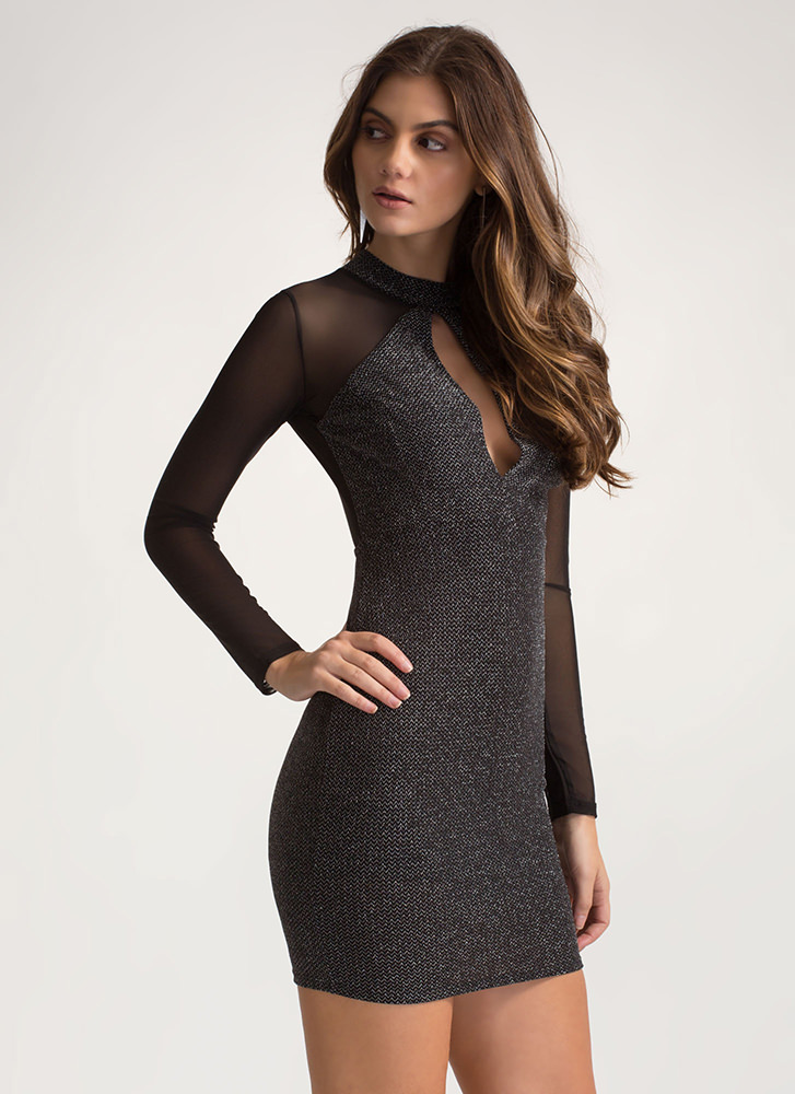 Sparkles Will Fly Mesh Sleeve Dress BLACK