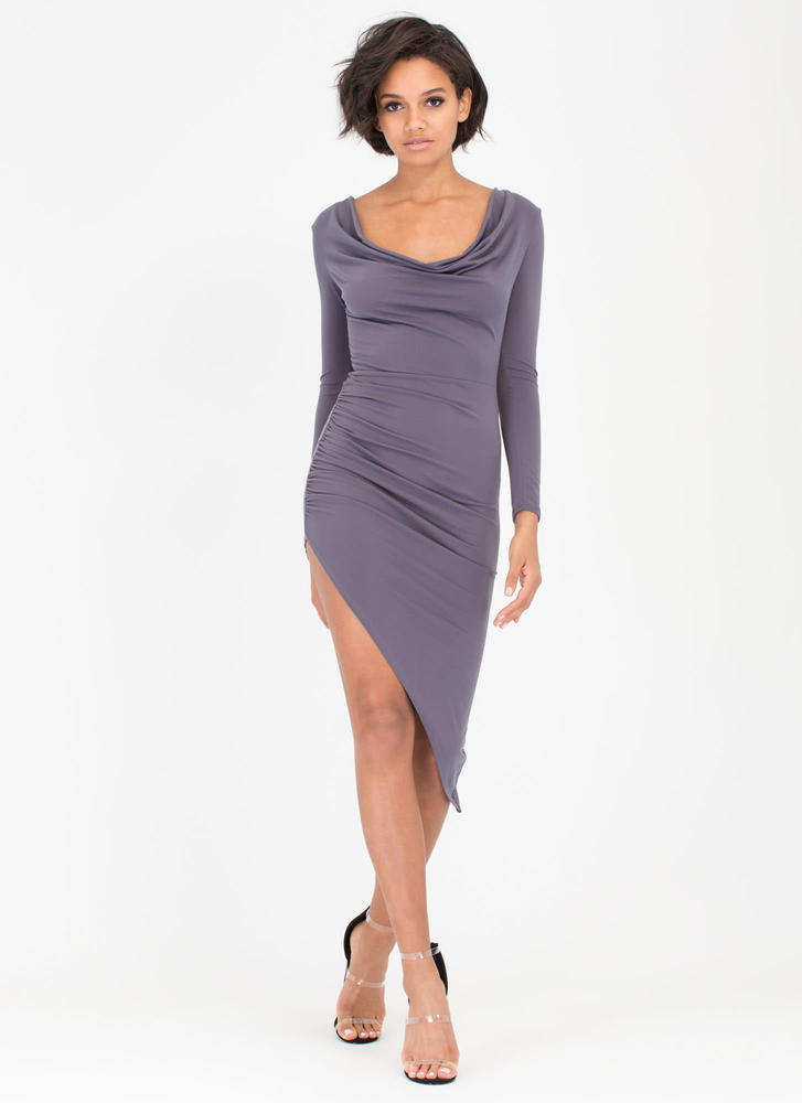 Cowl Girl Asymmetrical Draped Dress CHARCOAL