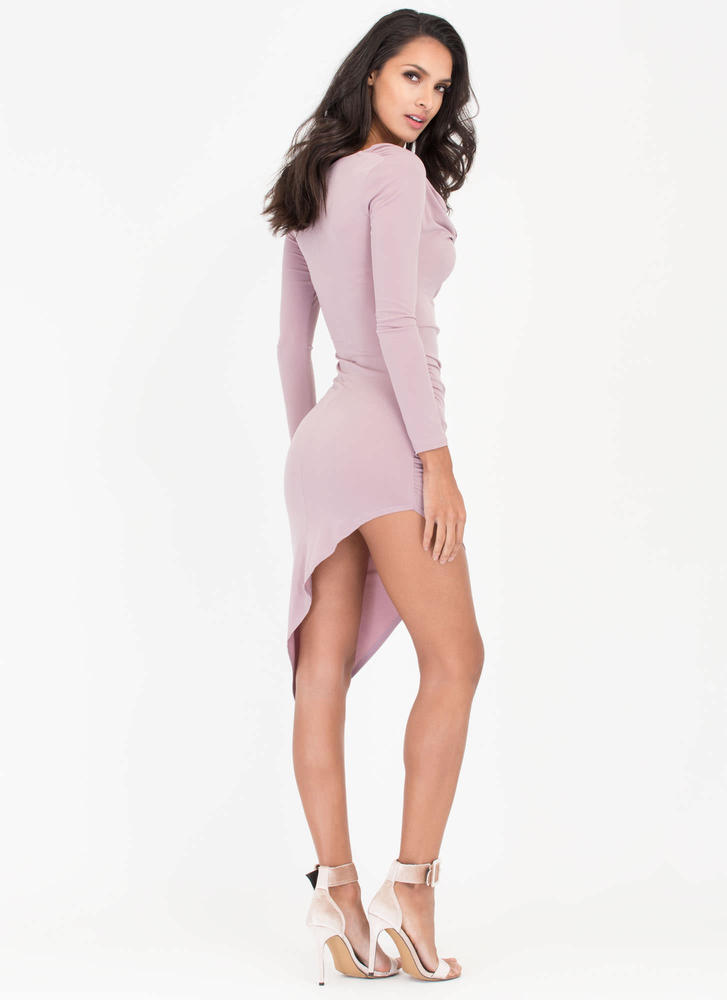 Cowl Girl Asymmetrical Draped Dress MAUVE