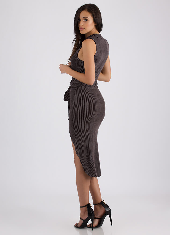 Chic Instinct Ribbed High-Low Dress BLACK