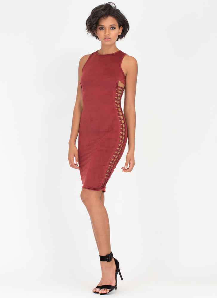 Weave It To Me Faux Suede Dress BURGUNDY