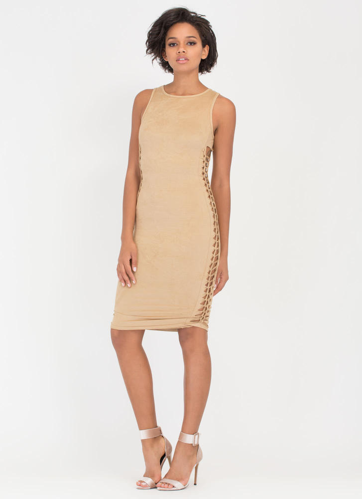 Weave It To Me Faux Suede Dress NUDE