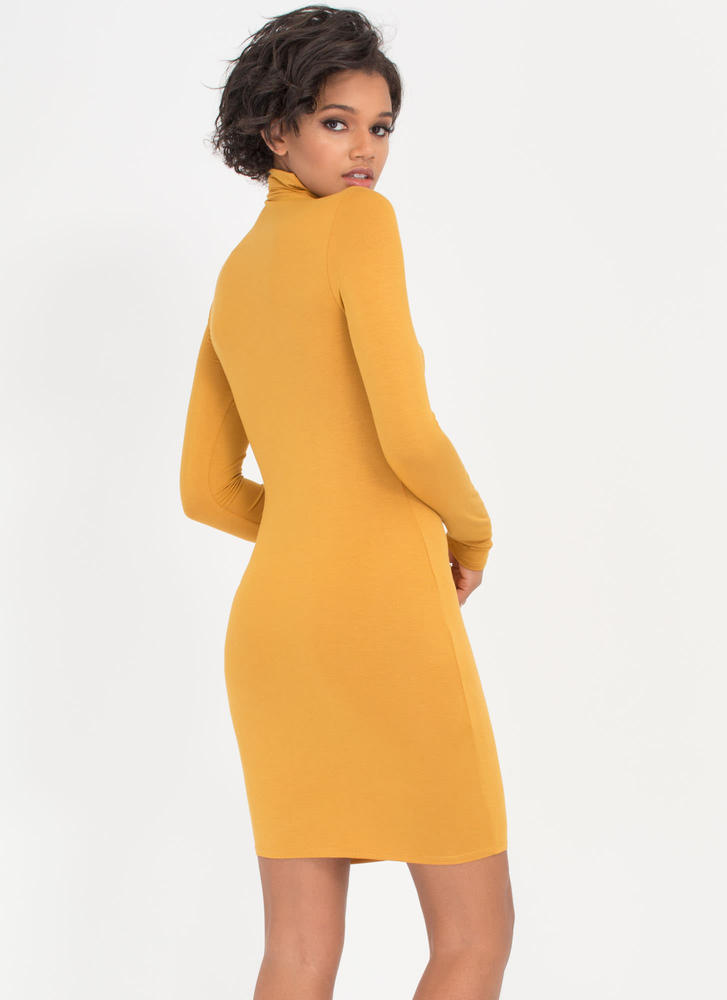 Up To Your Neck Turtleneck Dress MUSTARD