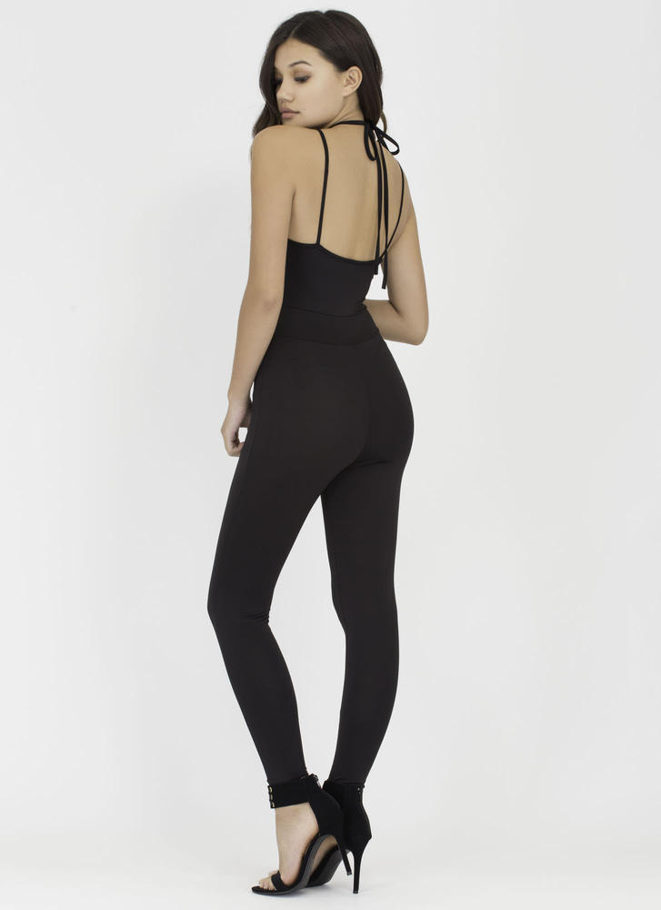 All The Cage Strappy Plunging Jumpsuit BLACK