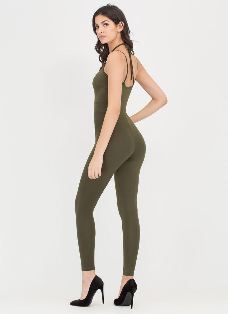 All The Cage Strappy Plunging Jumpsuit OLIVE