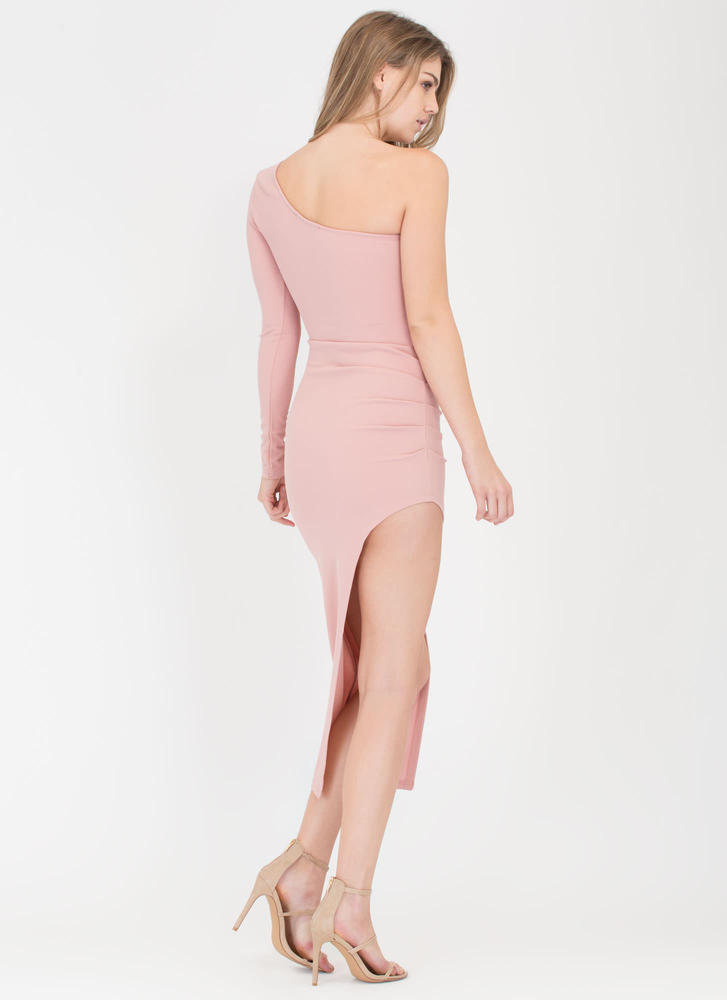 As U Pleats High-Low One Shoulder Dress MAUVE