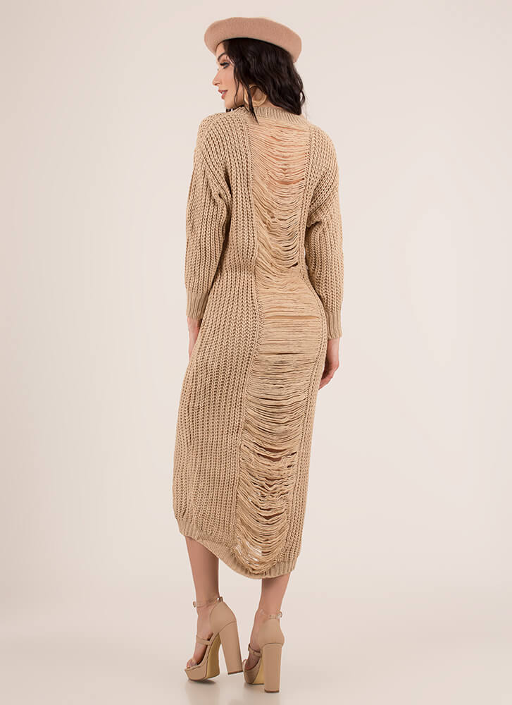 Cozy Challenge Shredded Knit Maxi Dress KHAKI