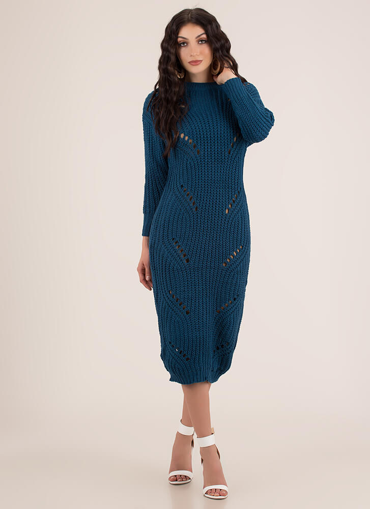 Cozy Challenge Shredded Knit Maxi Dress TEAL