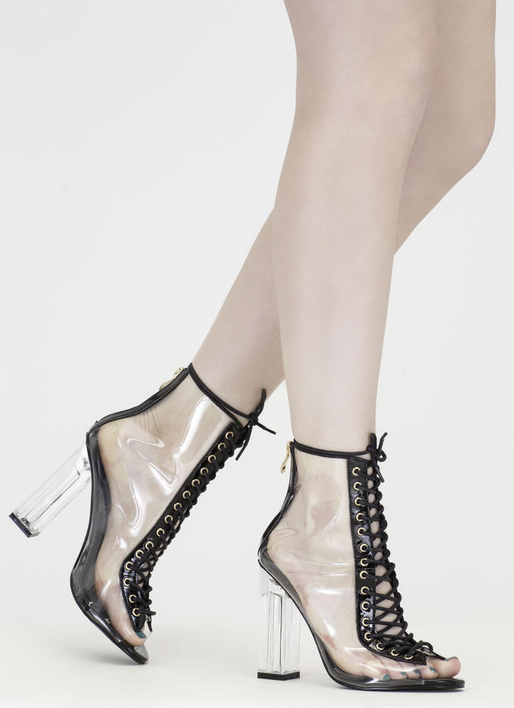 Clear-Cut Lace-Up Chunky Heels BLACK