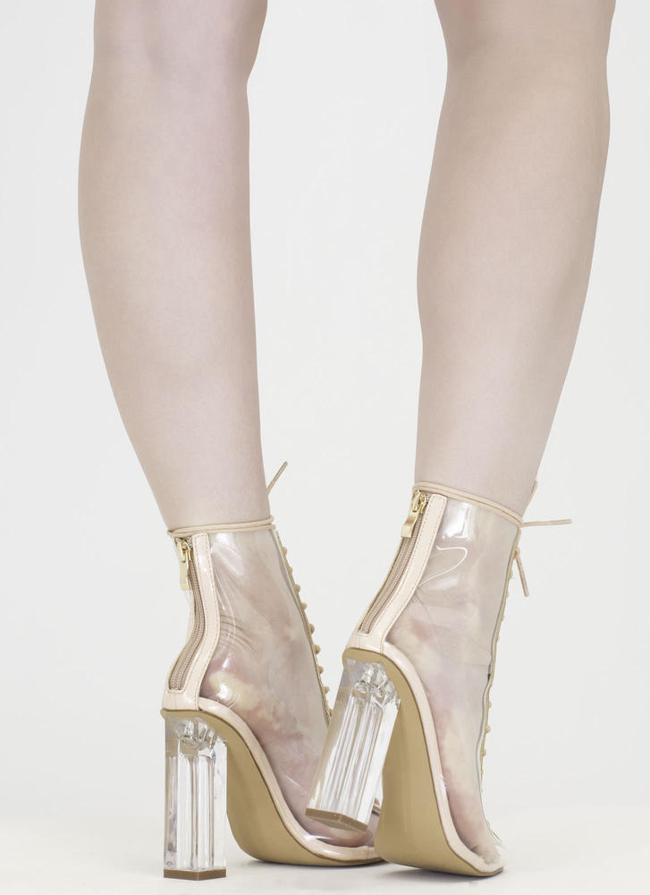 Clear-Cut Lace-Up Chunky Heels NUDE