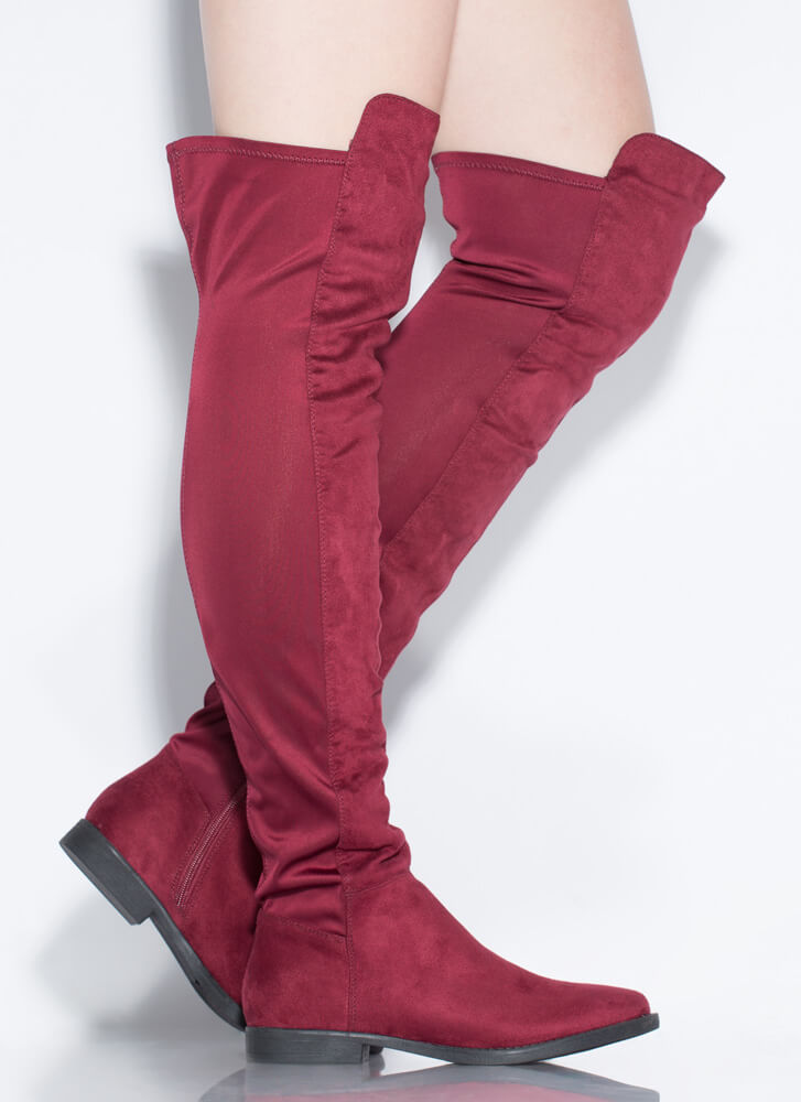 It's A Stretch Over-The-Knee Boots BURGUNDY