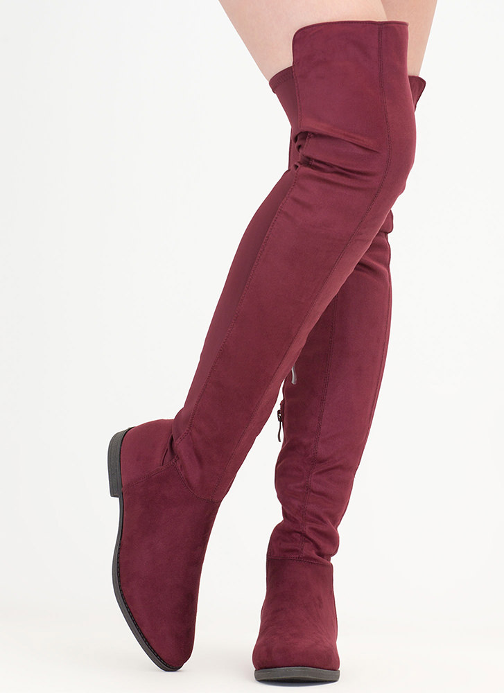 Two-Time Faux Suede Thigh-High Boots WINE