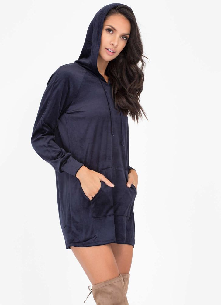 Hood Luck Velvet Sweatshirt Dress NAVY