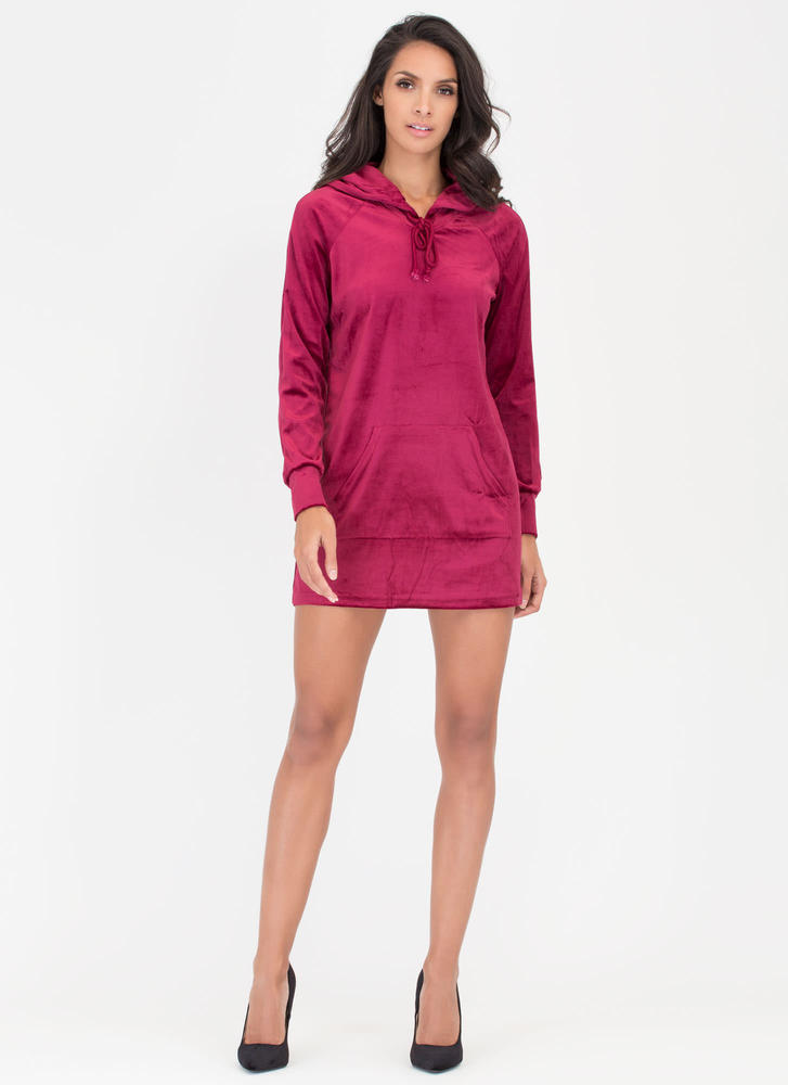 Hood Luck Velvet Sweatshirt Dress WINE