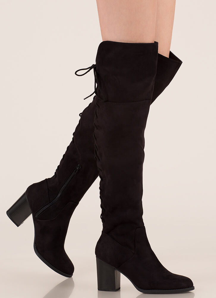 Day At The Lace-Back Thigh-High Boots BLACK