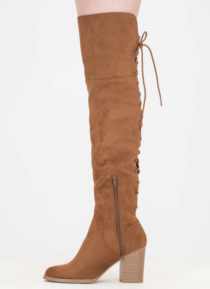 Day At The Lace-Back Thigh-High Boots CHESTNUT