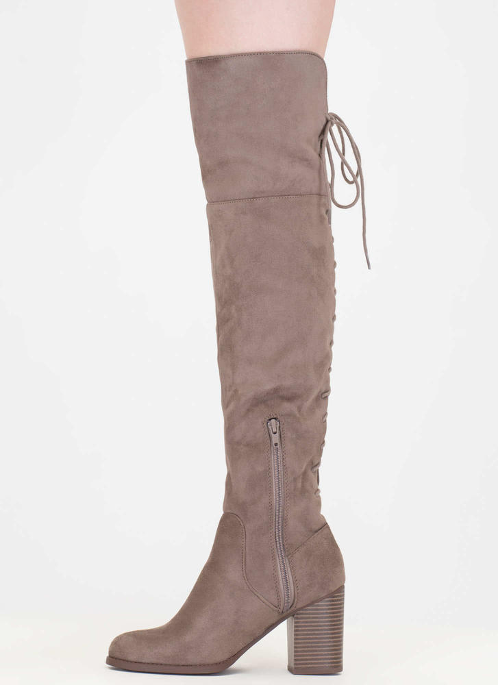 Day At The Lace-Back Thigh-High Boots TAUPE