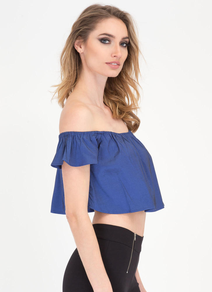 You'll Shine Off-Shoulder Crop Top NAVY (Final Sale)