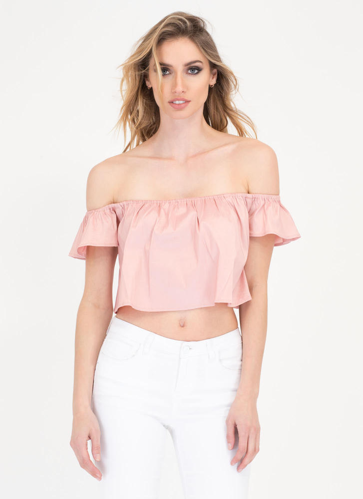 You'll Shine Off-Shoulder Crop Top ROSE (Final Sale)