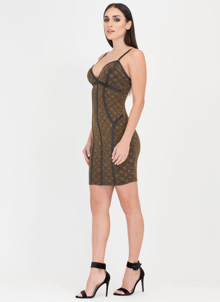 Glow For Gold Latticed Bustier Dress GOLD (Final Sale)