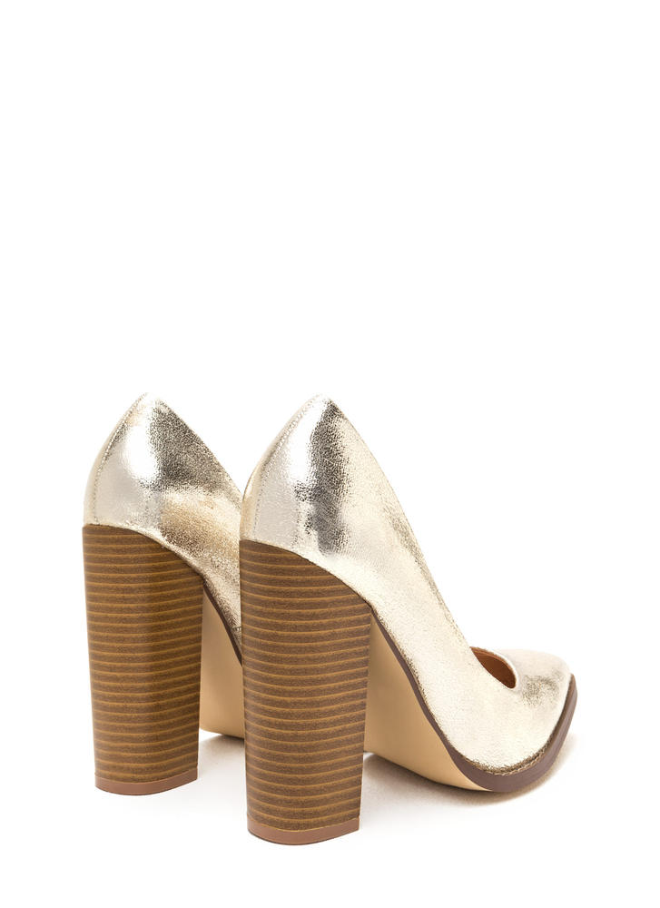Point At Me Chunky Metallic Pumps GOLD