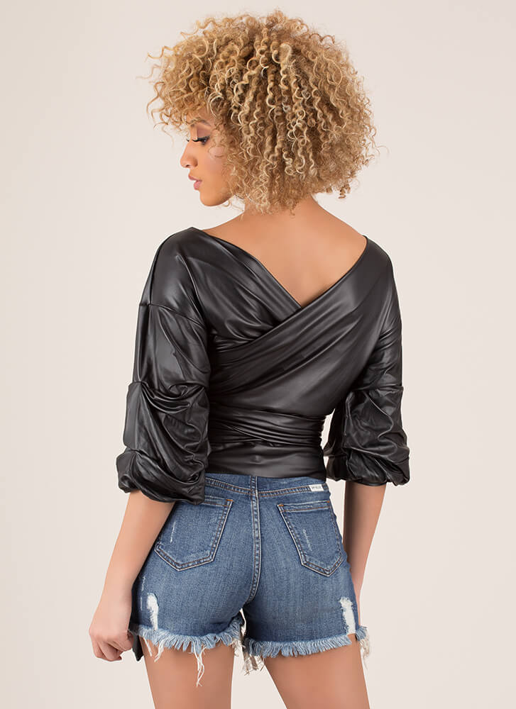 Smooth Ride Tied Puff Sleeve Wrap Top BLACK
