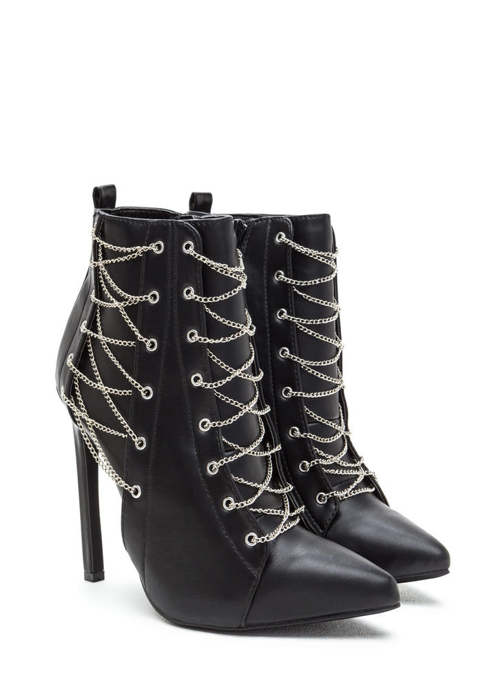 Chain Gang Pointy Faux Leather Booties BLACK (Final Sale)