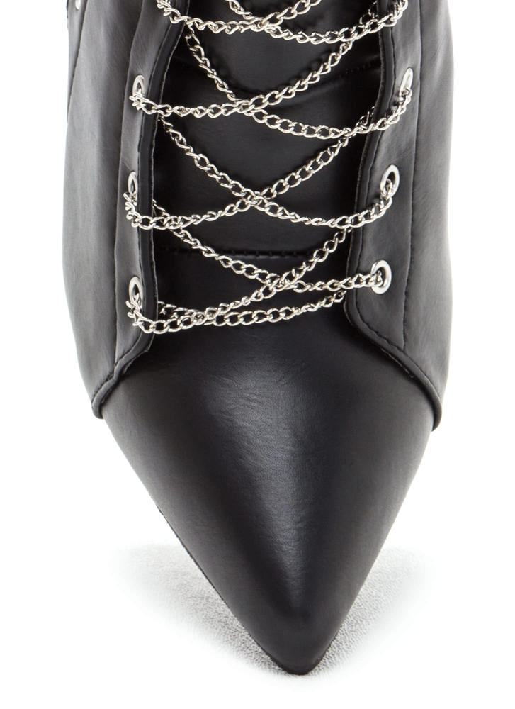 Chain Gang Pointy Faux Leather Booties BLACK